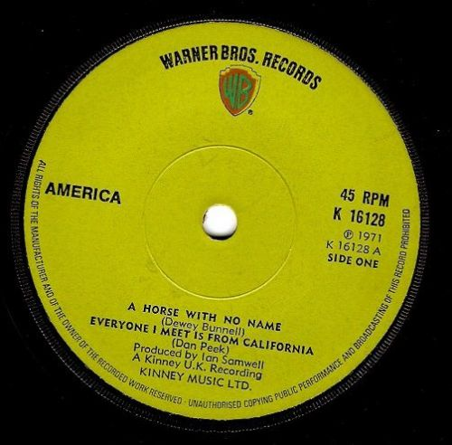 AMERICA A Horse With No Name Vinyl Record 7 Inch Warner Bros. 1971.